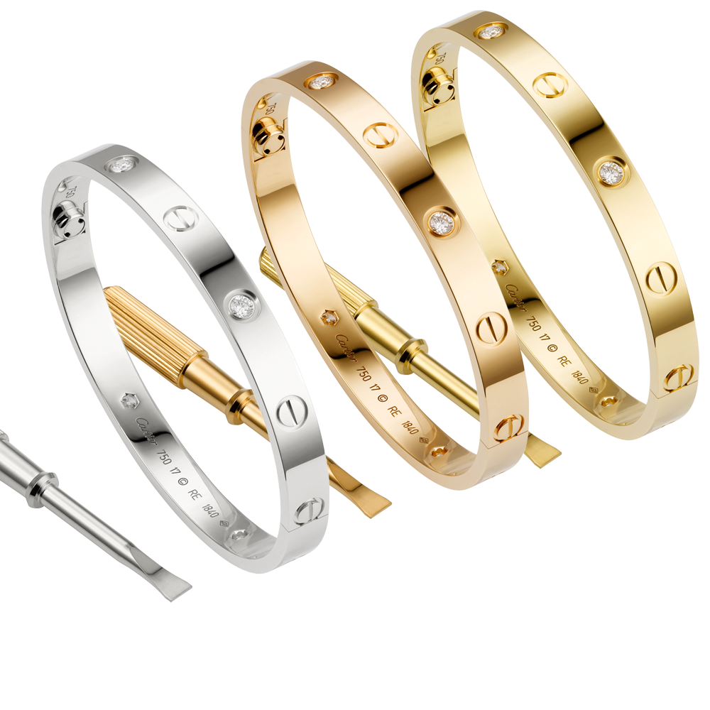 49fbe645d4b Cartier Love Bracelet White Gold Pink Gold Yellow Gold Diamonds (New  Version - Prevent Screws Fall Out) Price   95