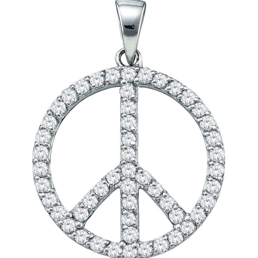 14k White Gold Round Natural Diamond Womens Circle Pacifist Peace Sign Fine Pendant 3/4 Cttw
