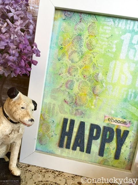 Paula Cheney, One Lucky Day: Tim Holtz Mini Stencils, Distress Crayons, and Collage Medium Crazing; Dina Wakely Media Board