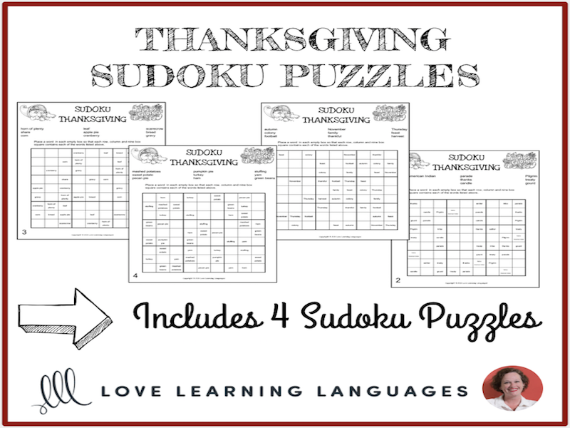 thanksgiving sudoku puzzle in english everyday activities