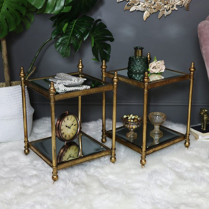 Pair Of Antique Gold Mirrored Side Tables Gold Luxury Luxe