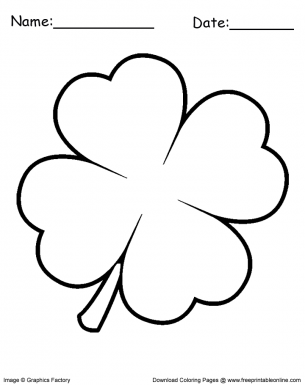 Clover Leaf Coloring Sheet Printable Coloring Pages