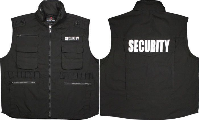 Black Security Officer Guard Ranger Tactical Vest with Hood  Rothco   TacticalVest 047d4054871