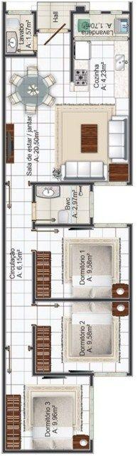 Plano de casa de 5 metros de frente casas pinterest for Casas estrechas y alargadas