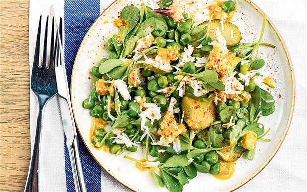 Crab. pea and purslane salad with sweet cucumber pickle