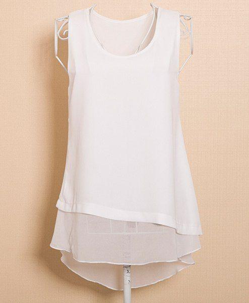 143529740ae35 Elegante camiseta cuello Faux Twinset Diseño sin mangas de la blusa para  las mujeres