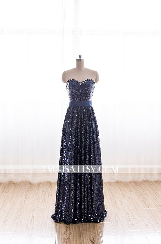 Hey, I found this really awesome Etsy listing at https://www.etsy.com/listing/212712163/navy-strapless-sequin-long-prom-dress