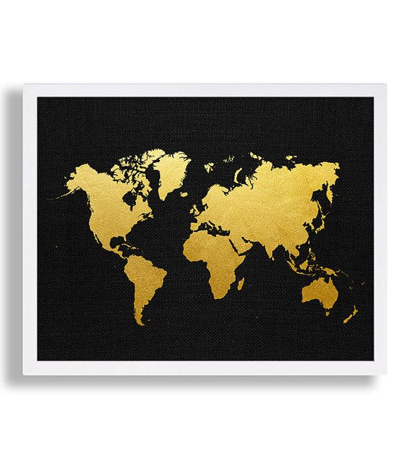 Faux Gold Foil World Map Print with Black Canvas Looking Background ...