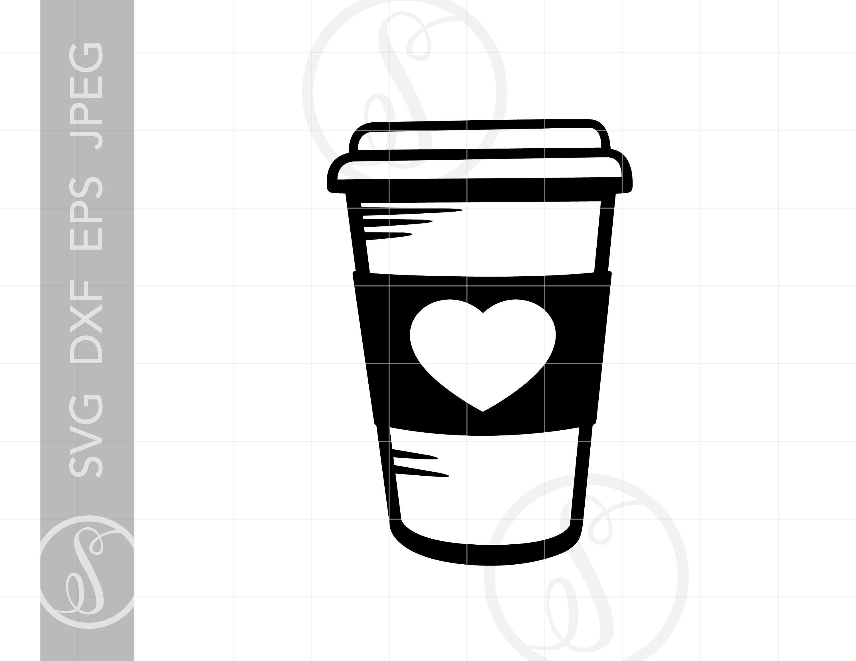 Love Latte SVG Coffee Clipart Latte Heart Silhouette