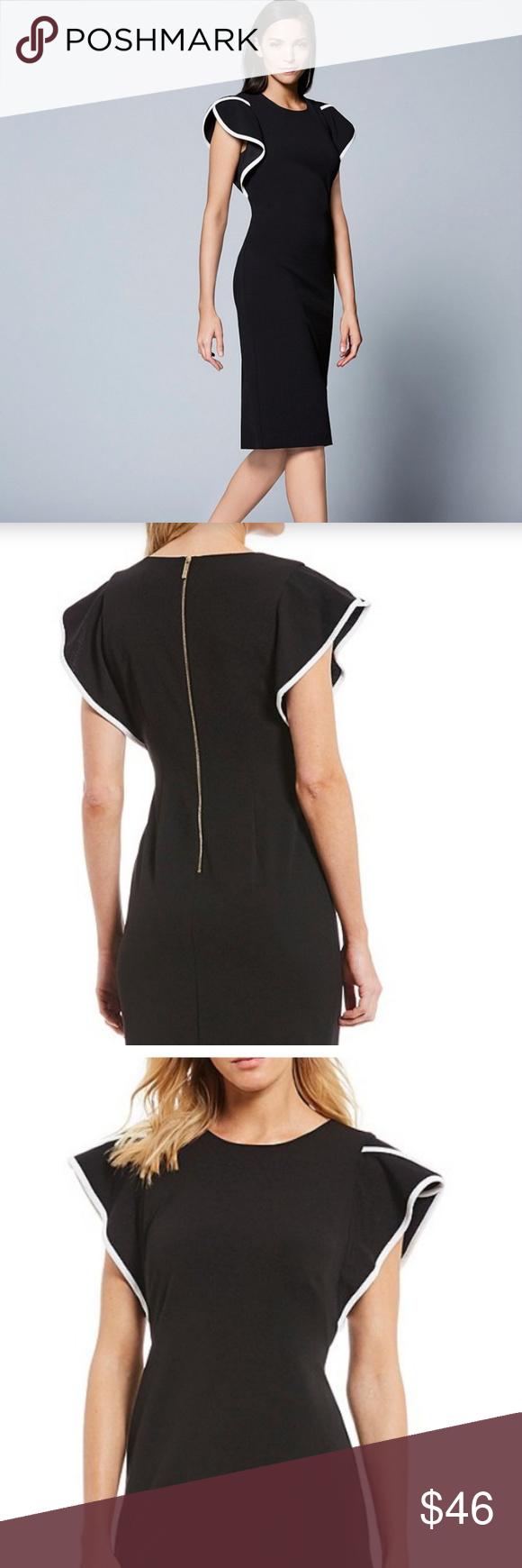 Calvin Klein Piped Ruffle Sleeve Sheath Dress Calvin Klein Dress Sheath Dress Calvin Klein [ 1740 x 580 Pixel ]
