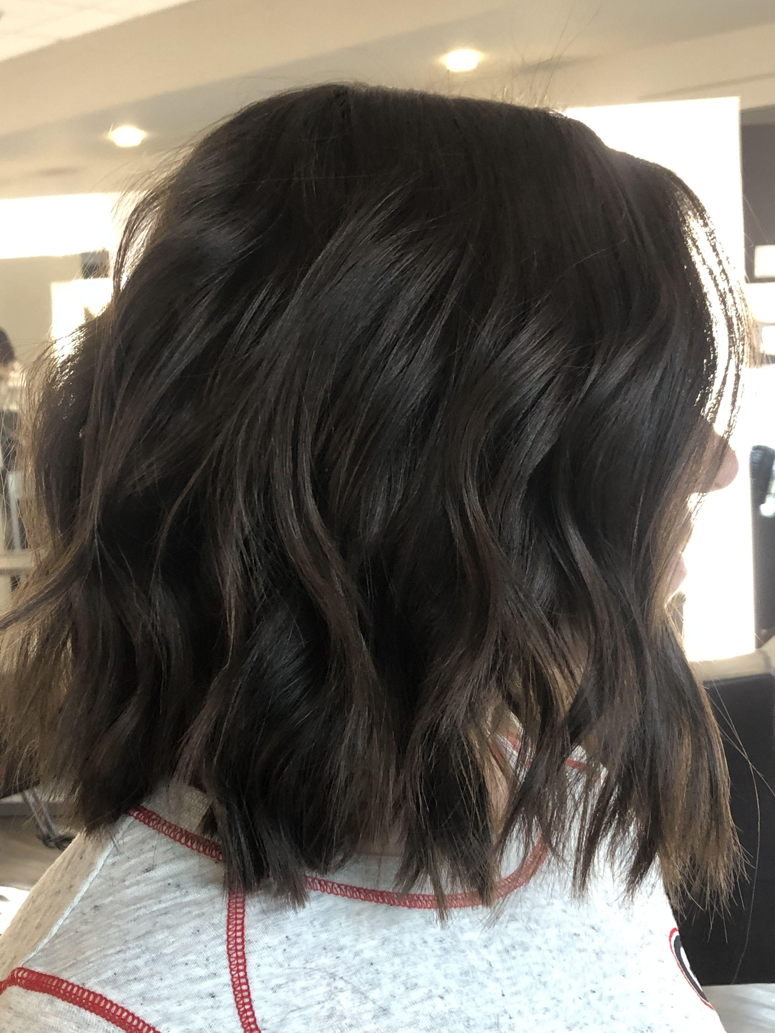 Short Dark Brown Bob Beach Waves Short Hair Waves Short Dark Brown Hair Dark Hair