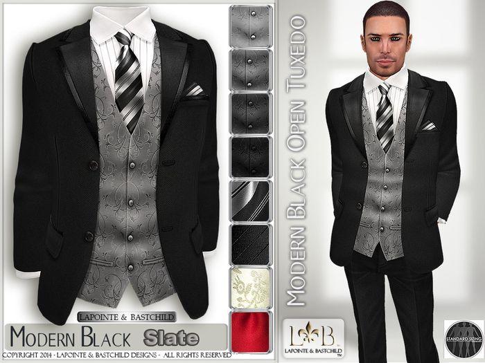 Tuxedo Formal Suit Black Modern Open Front Slate Edition Standard Sizes L B Mens