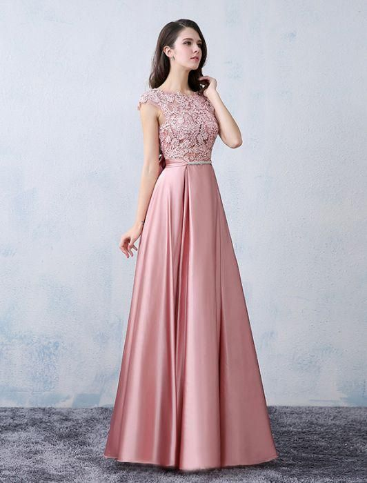 Chic A-line Scoop Pink Satin Applique Modest Prom Dress Evening ...
