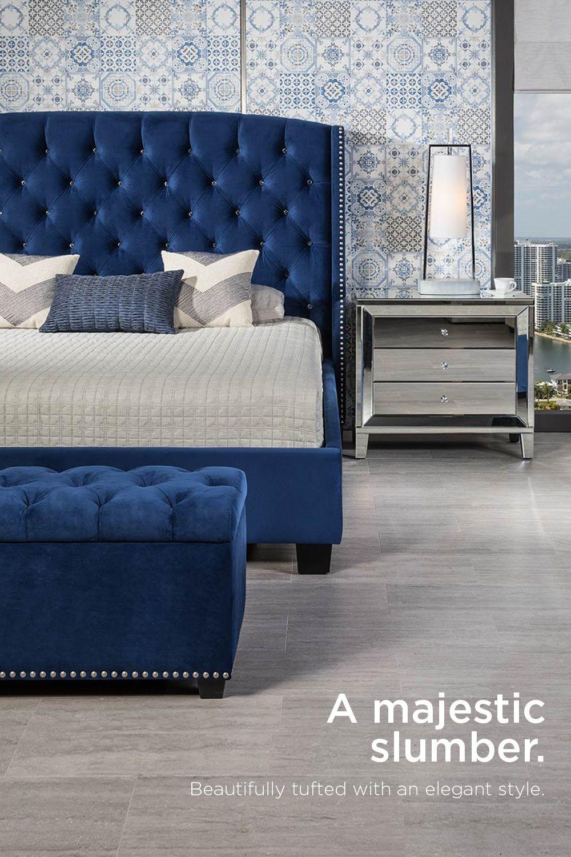 Majestic Blue Queen Platform Bed Contemporary Bedroom Master Bedrooms Decor Luxurious Bedrooms
