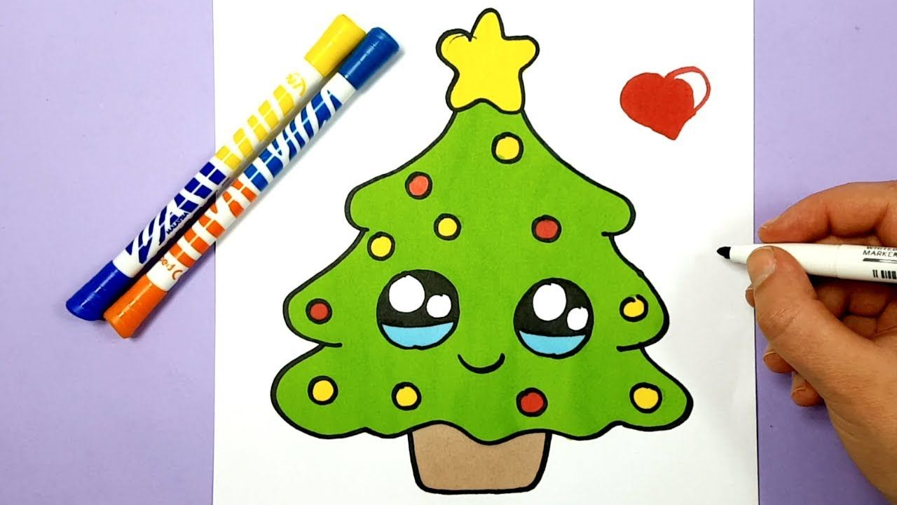 How To Draw A Christmas Tree Cute Youtube Cute Easy Drawings Kawaii Drawings Kawaii