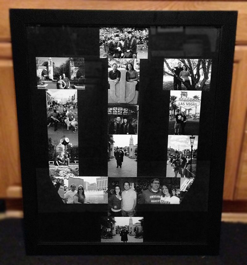 College Logo Picture Frame Collage Used 4x6 Black And White