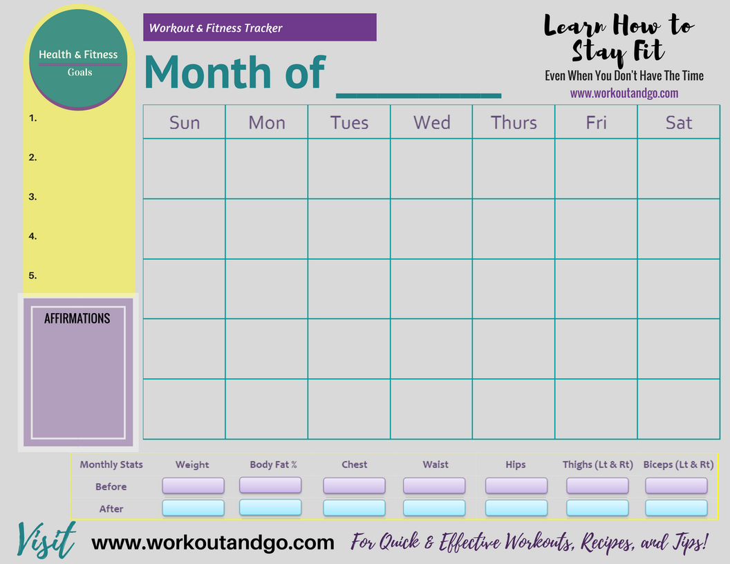 Free Printable Monthly Workout and Fitness Tracker | Workout