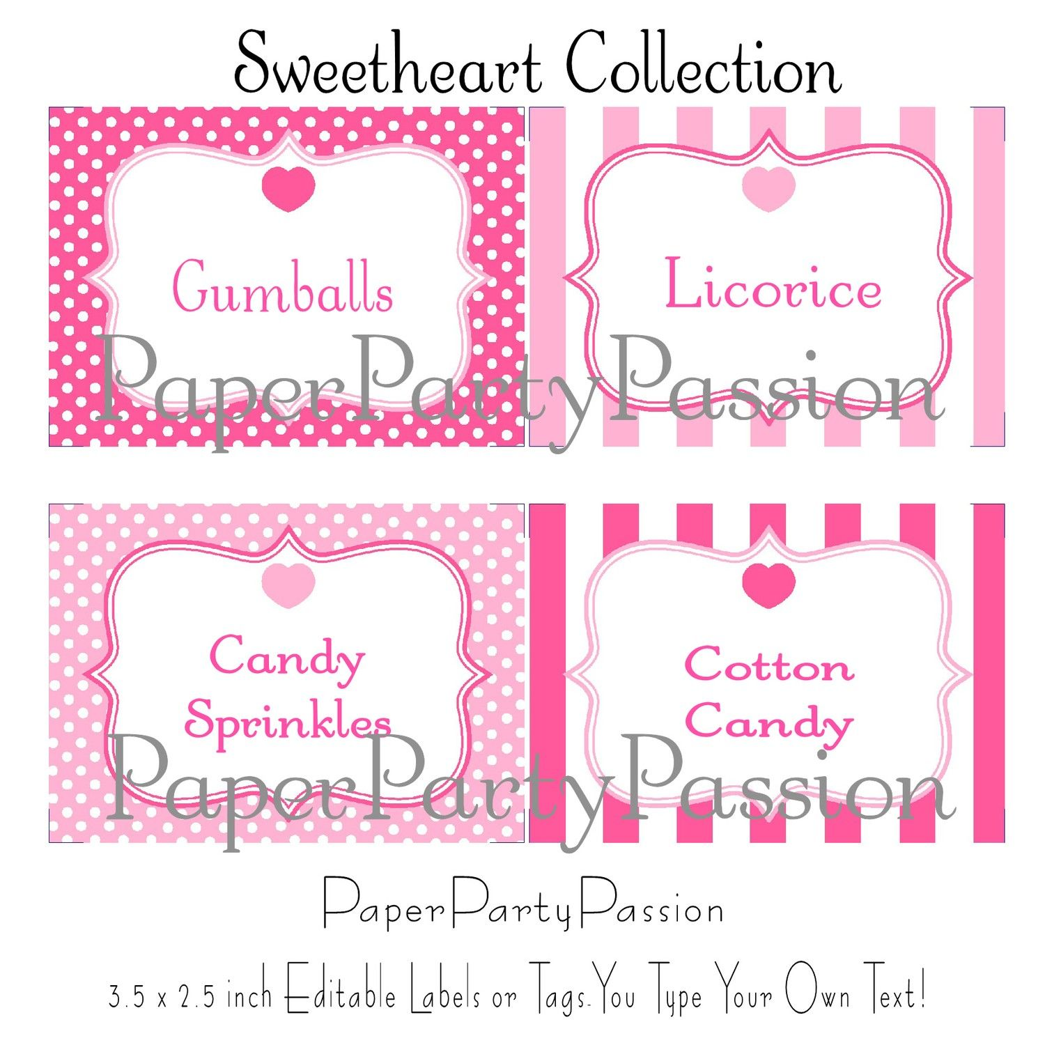 candy buffet printable party editable labels by paperpartypassion