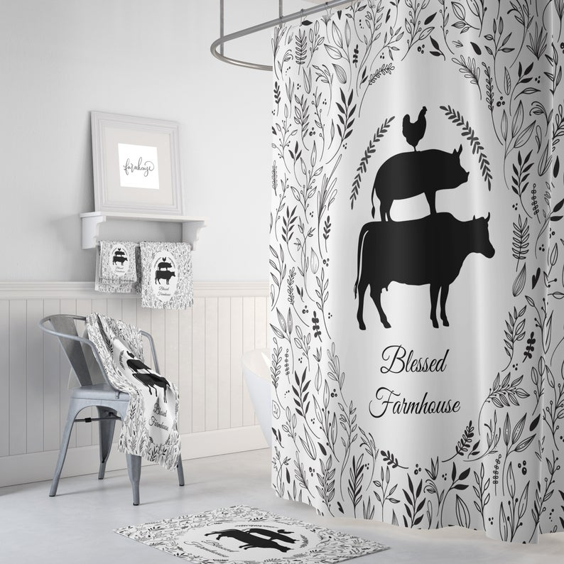 Farmhouse Shower Curtain Custom Shower Curtain Farmhouse Bathroom