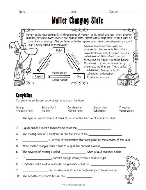 2nd Grade Science Matter Worksheets - Free Worksheet