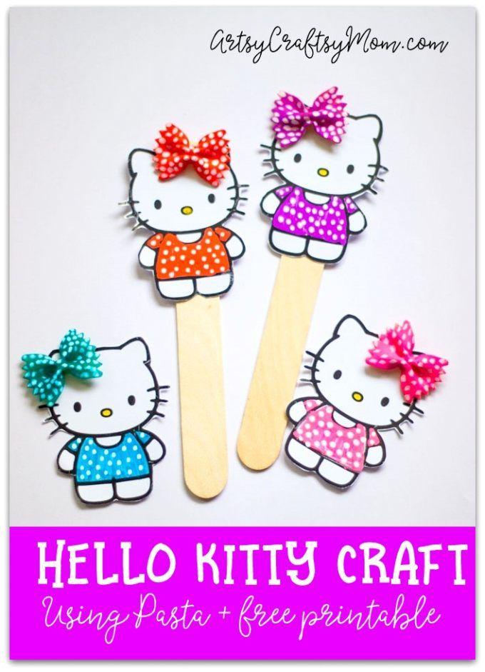 Super Cute Hello Kitty Craft Bookmark Using Pasta- free printable