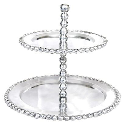 Threshold Silver Beaded 2 Tier Serving Stand Maybe For Christmas Tiered Server Tiered Stand Traditional Platters