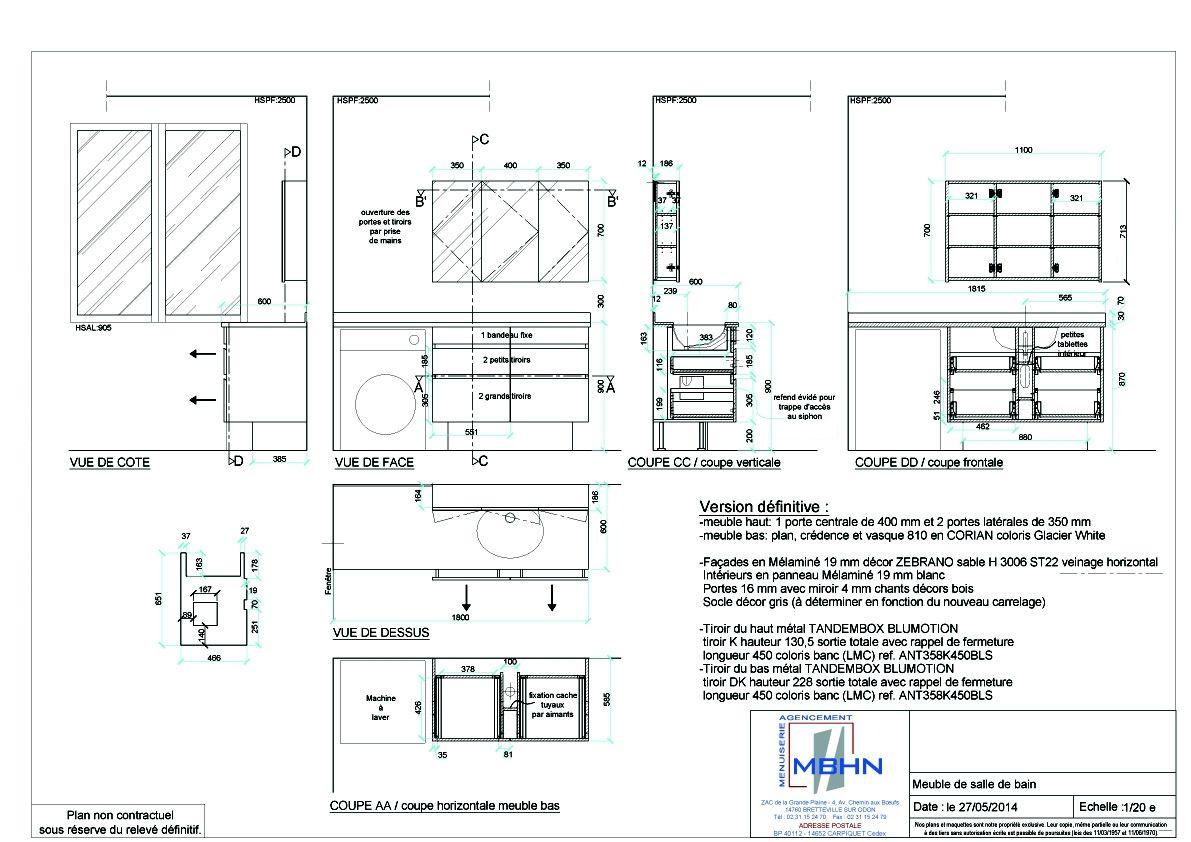 plan dexcution meuble de salle de bain stage - Plan D Une Salle De Bain