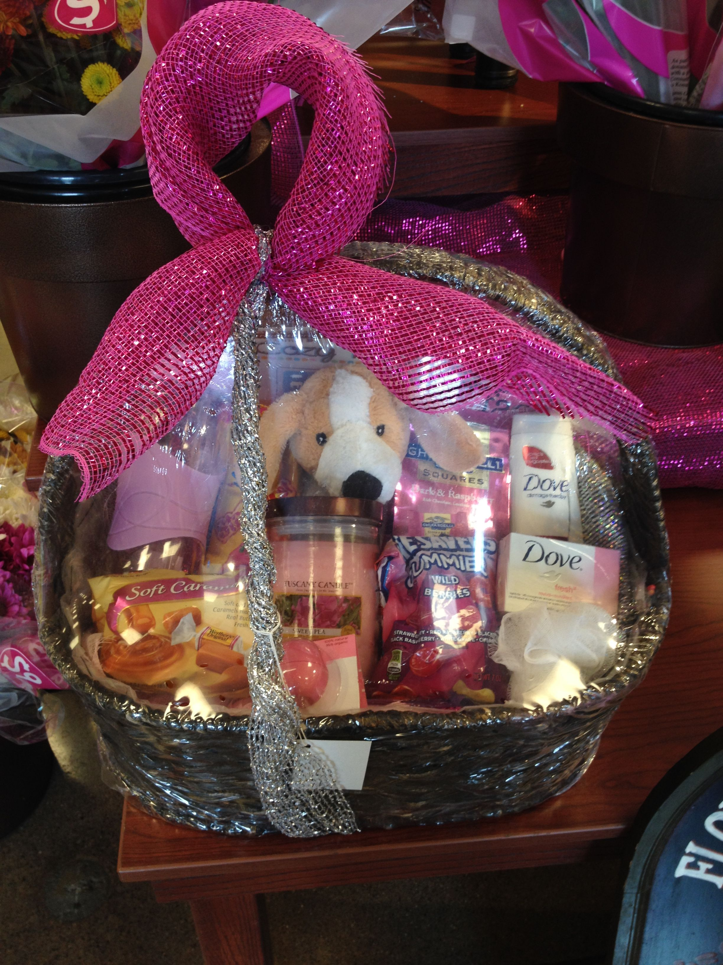 pink ribbon breast cancer awarenessgift basket for women