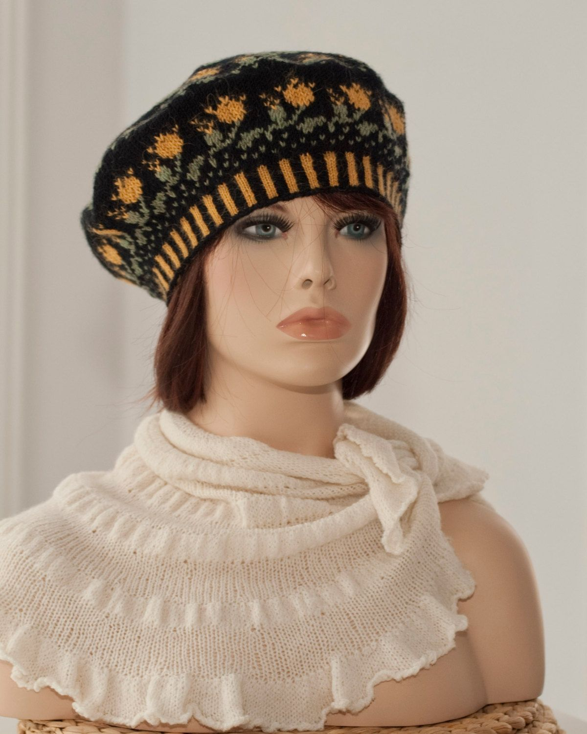 8b5ae165c50fc Hand knitted beret tam with the motifs of roses fair isle blackyellowgreen  colors woolen for women for girls spring fall winter.