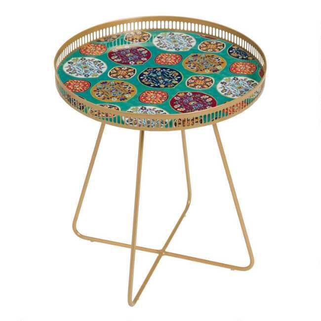 Large Round Gold Metal Floral Tray Table (With images ...