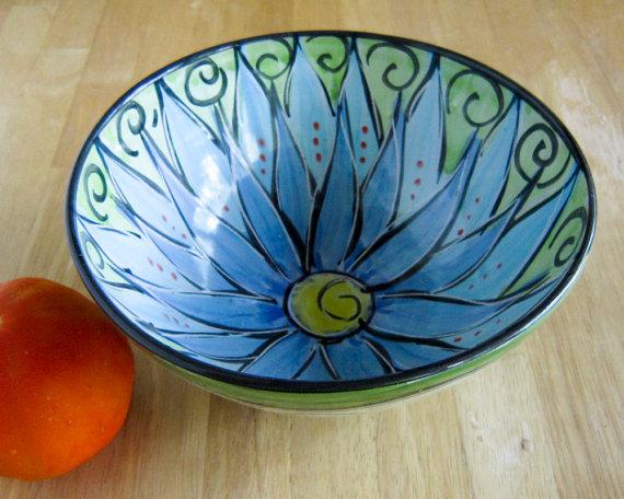 Pottery Clay Bowl Cornflower Blue Lotus Flower Wheel Thrown Clay Lick Creek…