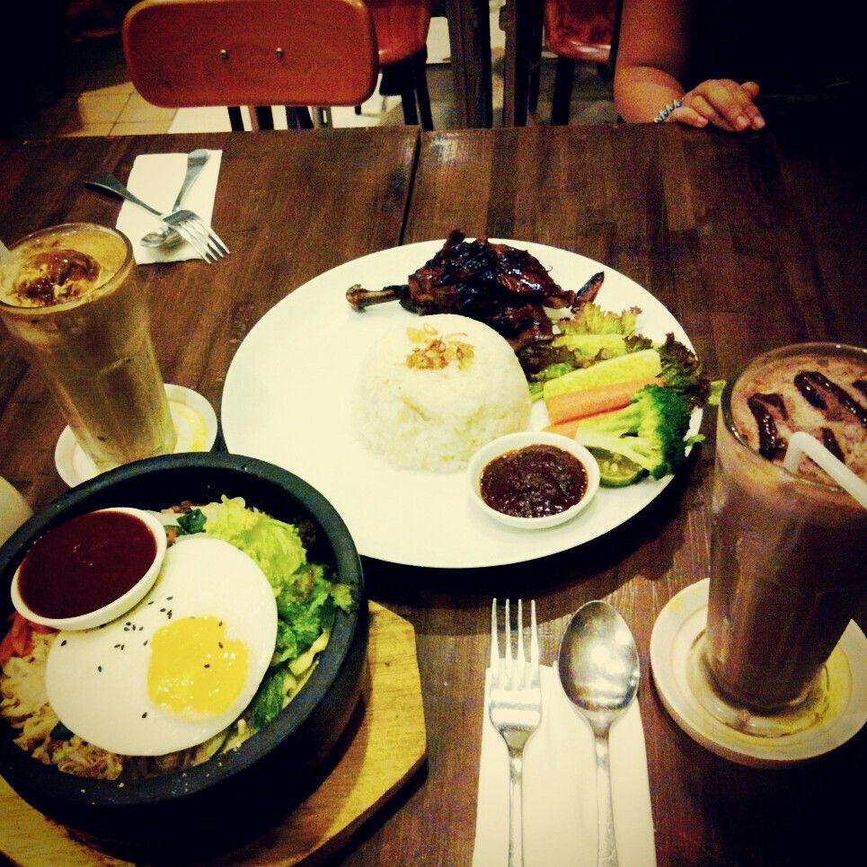 "HummingBird foods. Half ""Ayam Bakar"" and BIBIMBAB (Korean Food) with fresh Cafe latte Au Lait and Chocolate Blended"
