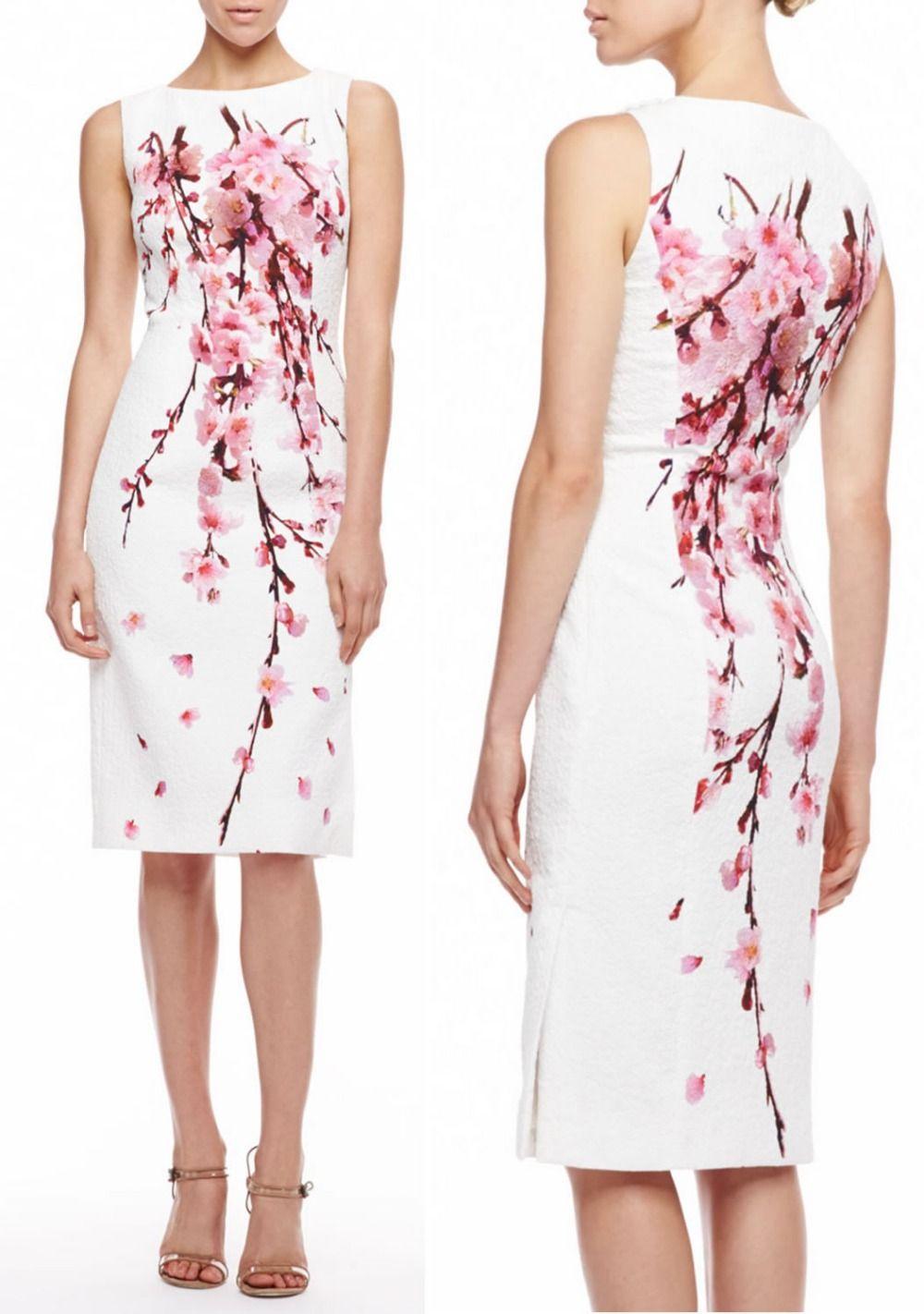 Günstige Frauen Kirschblüte Jacquard Kleid elegante Weiße party ...