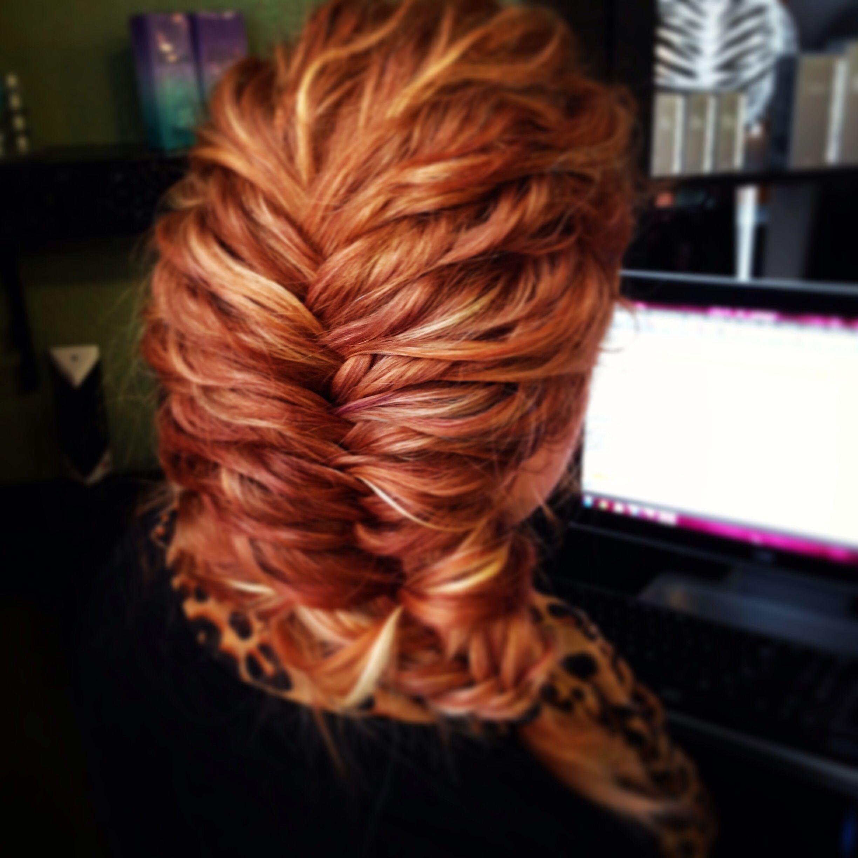 Fish tail braid on beautiful red curly hair- Tamara at Salon ISH