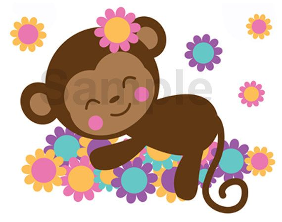 SAFARI NURSERY DECOR Sleeping Monkey Decal Girl Wall Art Mural ...