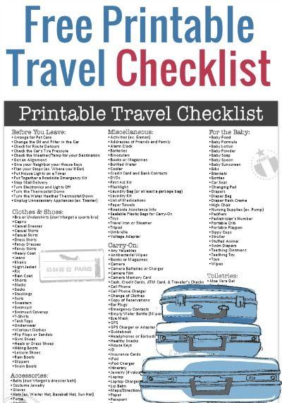 Free Printable Travel Checklist Pinterest Free printable - Travel Checklist