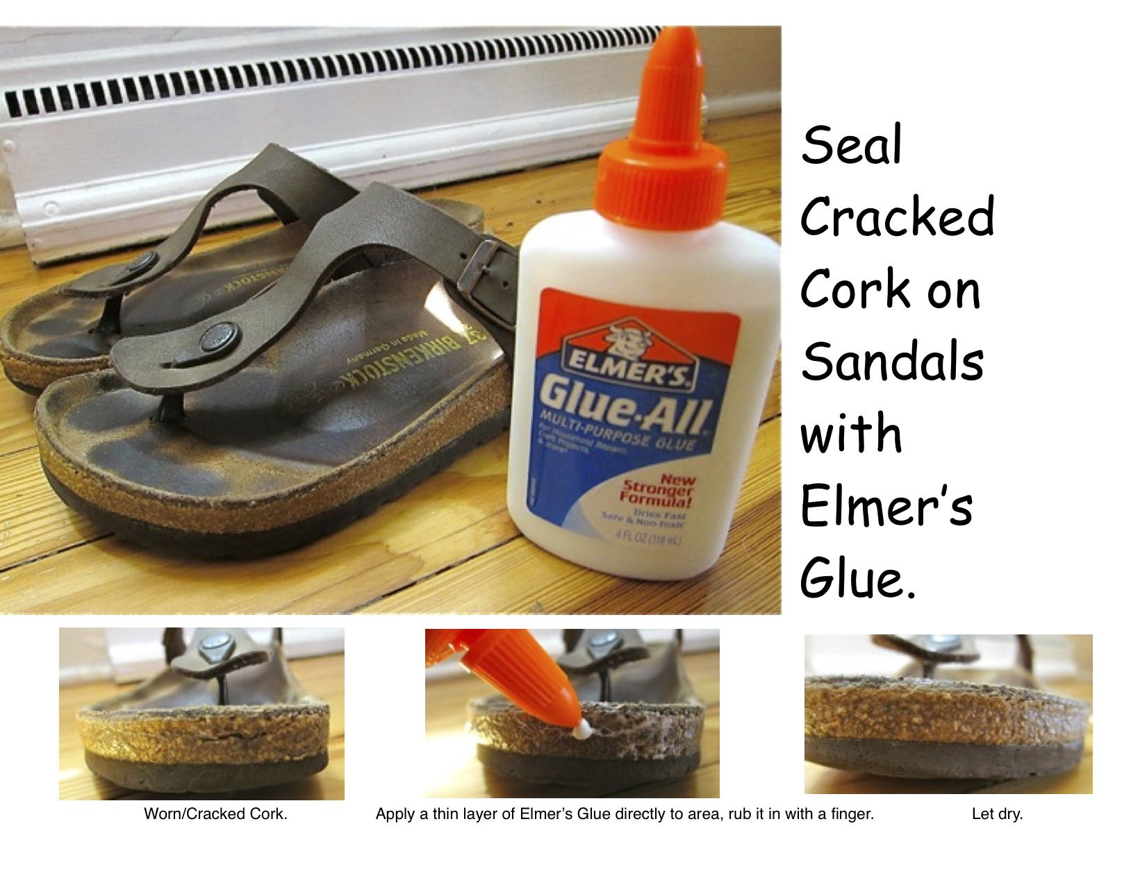 850e1118f064 seal cracked cork on birkenstocks (or any cork sandal) with elmer s glue.