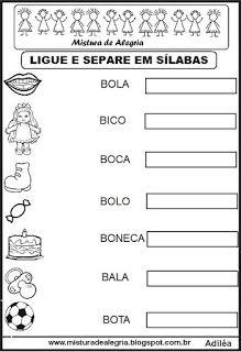 Separacao Silabica Atividades De Alfabetizacao Imprimir E