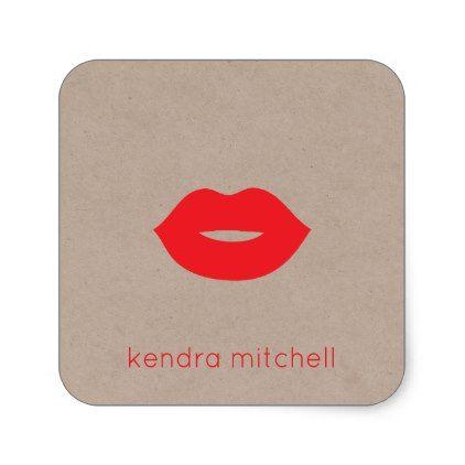 Bold Minimalist Red Lips Logo Makeup Artist Kraft Square Sticker