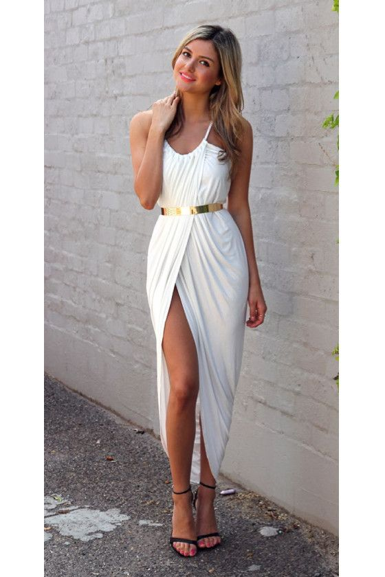 Sexy Spaghetti Strap Sleeveless Solid Color Furcal Dress | Dress ...
