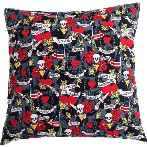 Cushion Cover Day of the Dead skull heart red black white assort sizes