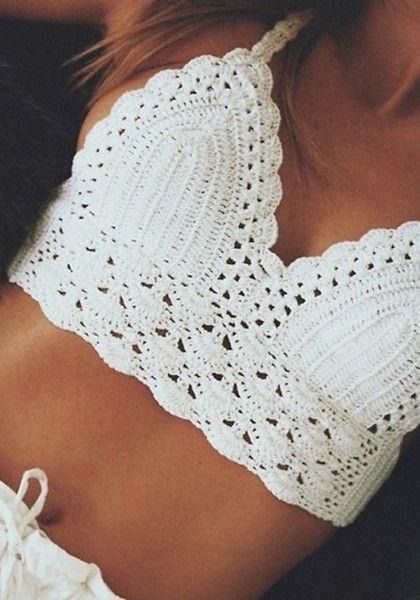 Tie-String Crochet Bralette Top - Sexy Beige Crochet Top  1f83d3d70