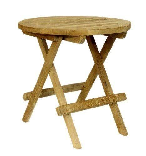 Teak Beistelltisch Tisch Balkontisch Holz Klappbar O 60 Cm