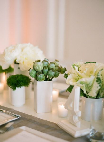 Modern green and white centerpiece