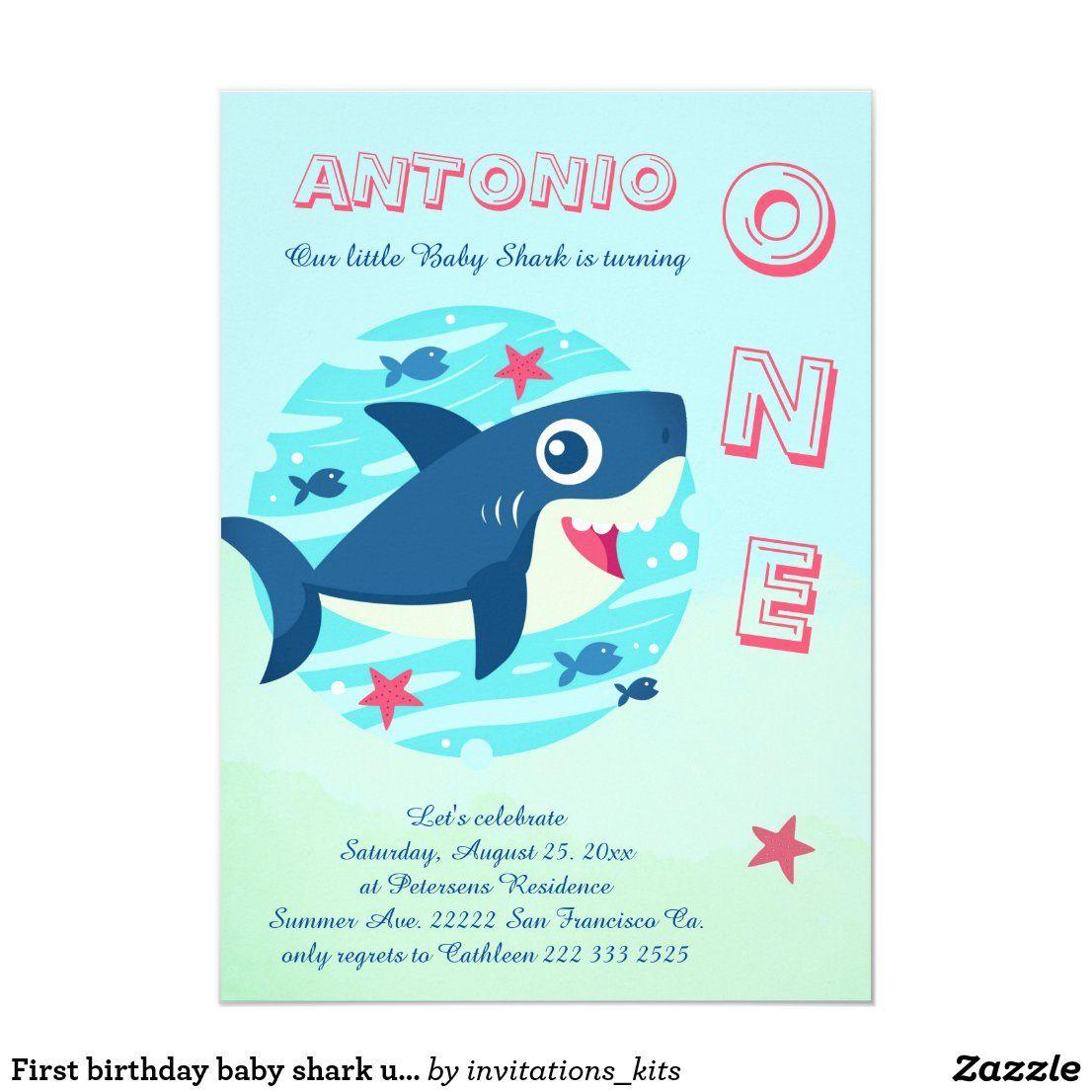 First birthday baby shark under the sea blue invitation