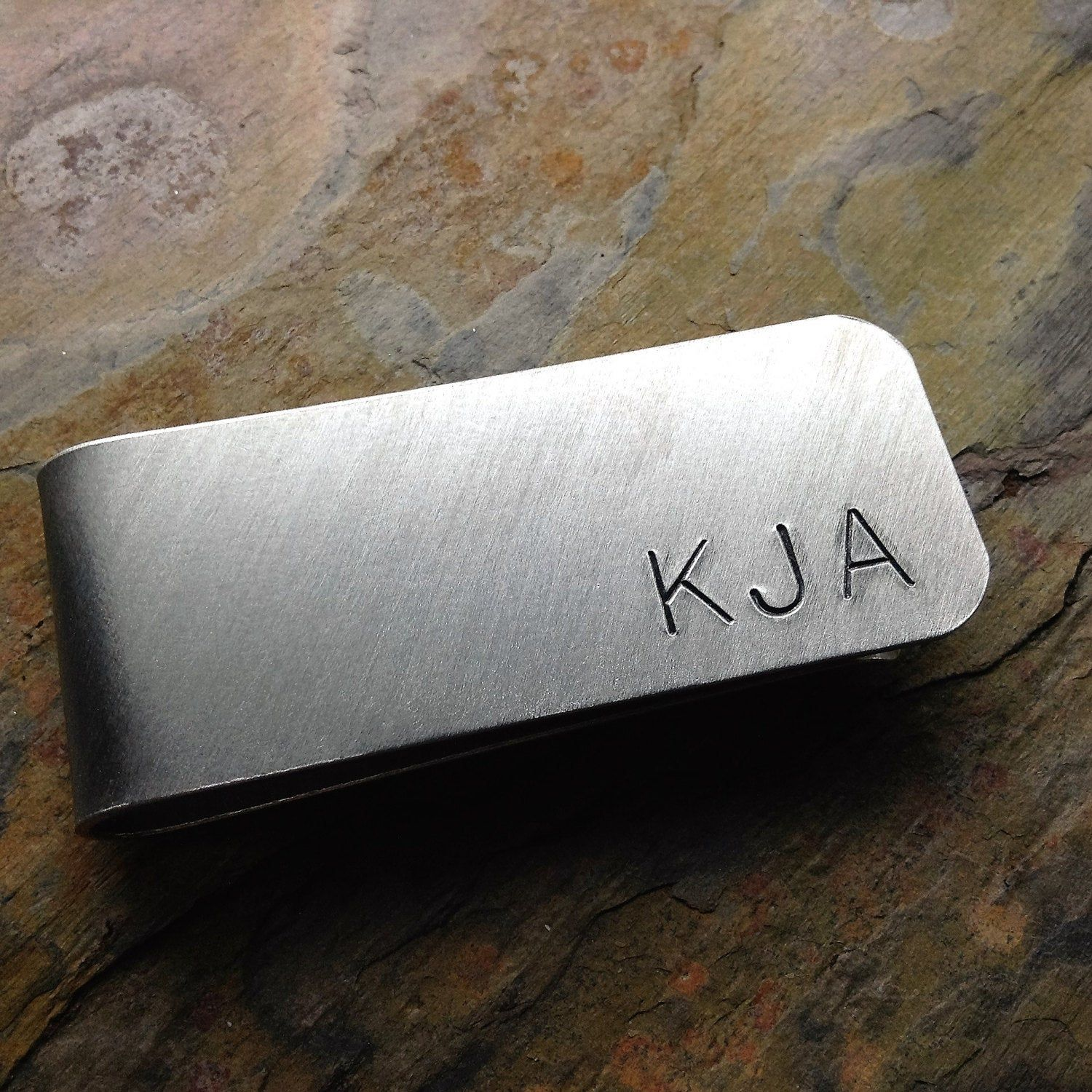 Engraved Clip Tie Bar .925 Sterling Silver Copper or Nu Gold Initials Monogram Name Personalized Fathers Day Grooms Wedding Party