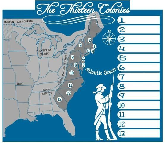 Free American Revolution Unit Study And Huge Lapbook Us History - Us-map-with-13-colonies