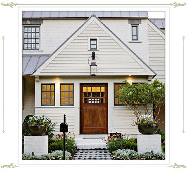 White Cream Body Black Charcoal Windows And Roof Wood Door House Exterior Traditional Exterior Exterior Design