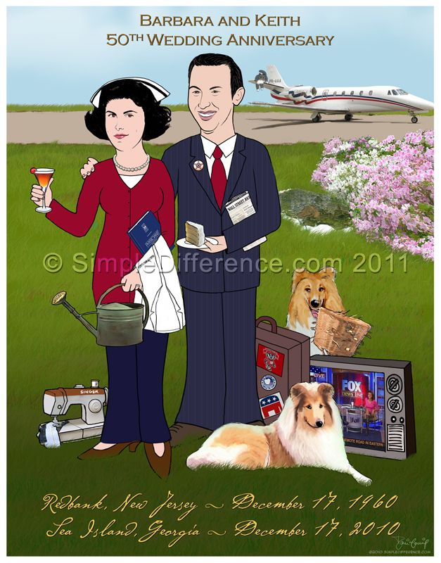 Fun 50th Anniversary Gift From Children To Parents Caricature