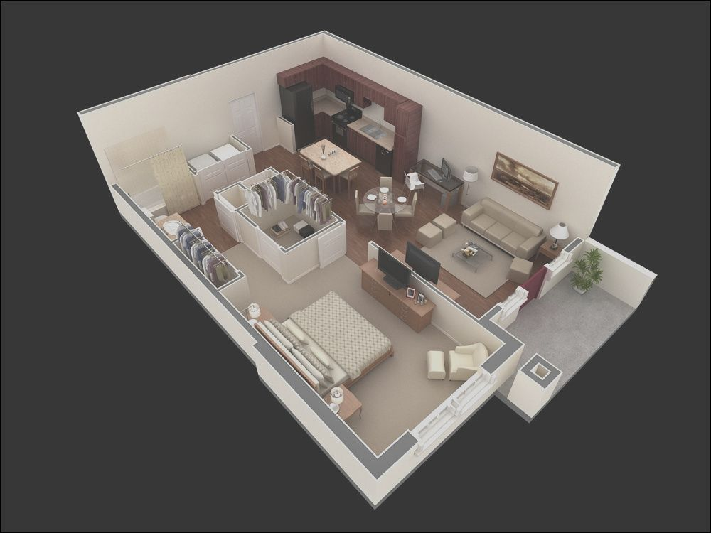 11 Nice Small 1 Bedroom Apartment Design Collection